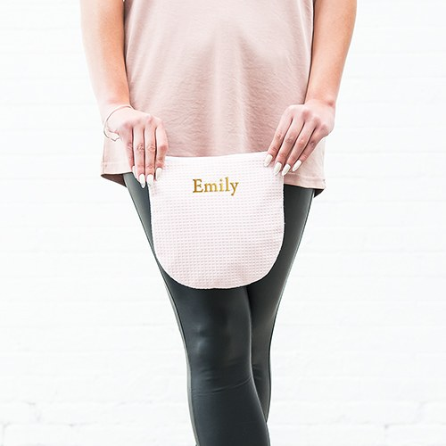 Personalized Cotton Waffle Zipper Pouch - Blush