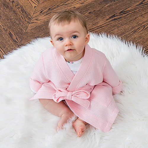 8f81e55cc223 Personalized Embroidered Baby Girl Waffle Robe with Pockets- Blush ...