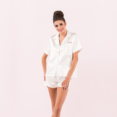 Women's Personalized Satin Pajama Sleepwear Set - White