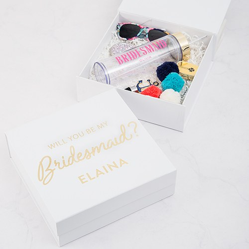 Premium Gift Box - Will You Be My Bridesmaid in Metallic Gold