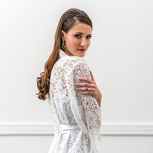 Personalized Embroidered Lace Bridal Wedding Robe- White - The Knot Shop 703806860