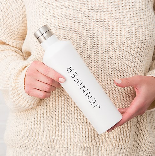 Stainless Steel Water Bottle - Modern Shape - Contemporary Vertical Line