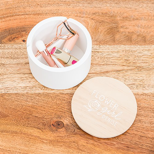 Large Personalized Round Wooden Jewelry Box – Flower Girl Modern Rose Print