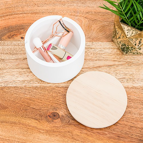 Large Round Wooden Jewelry Box – Natural