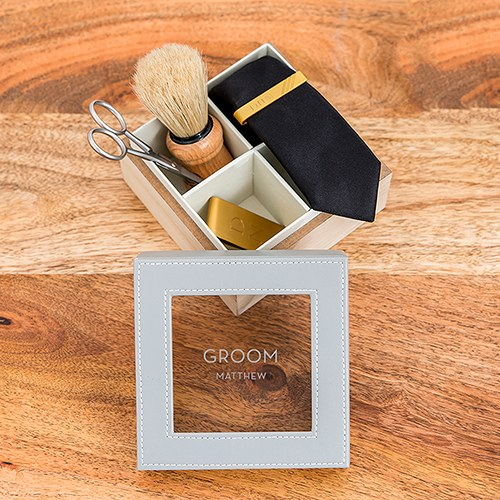 Wood and Faux Leather Keepsake Box With Glass Lid - Groom