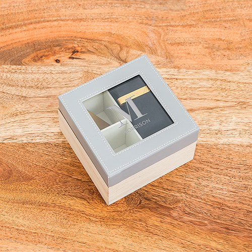 Wood and Faux Leather Keepsake Box With Glass Lid - Initial Monogram