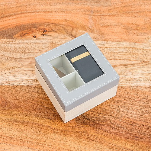 Wood and Faux Leather Keepsake Box With Glass Lid