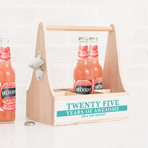Personalized Wooden Bottle Caddy with Opener -