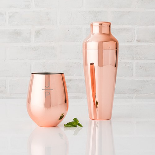 Copper Stemless Wine Glass - Stacked Monogram Etching