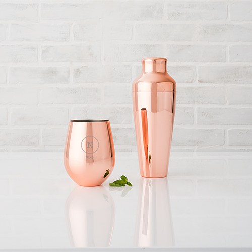 Copper Stemless Wine Glass - Circle Monogram Etching