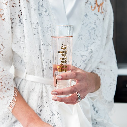Stemless Toasting Champagne Flute Gift for Wedding Party - Bride