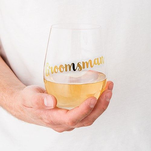 Groomsman Stemless Wine Glass - Metallic Gold