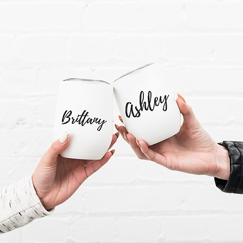 Personalized Stemless Travel Tumbler - Calligraphy Text Printing