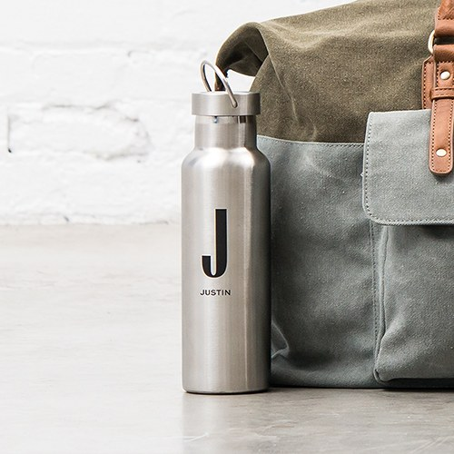 Personalized Chrome Stainless Steel Reusable Water Bottle – Sans Serif Monogram Print