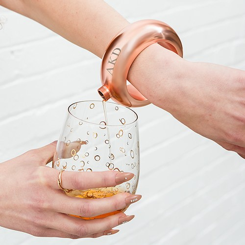 Personalized Rose Gold Bracelet Drinking Flask - Monogram Engraving