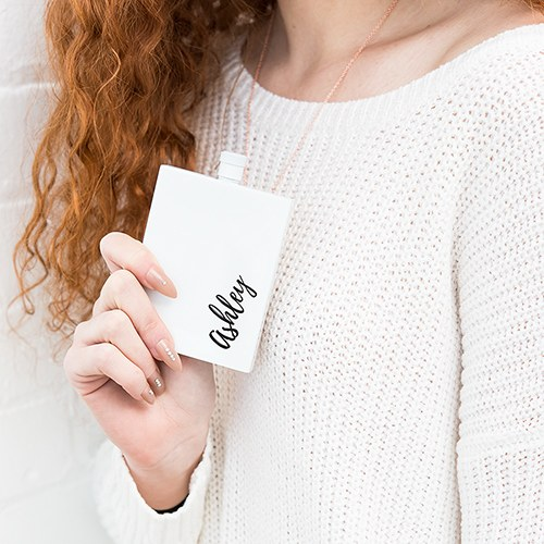Hip Personalized White Stainless Steel Flask - Vertical Calligraphy Text
