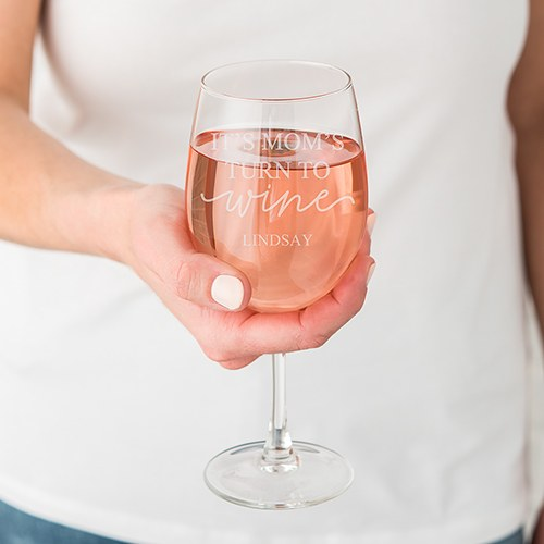 Large Personalized Stemmed Wine Glass – It's Mom's Turn to Wine Engraving