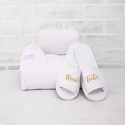 Women's Cotton Waffle Spa Slippers - Bride Tribe