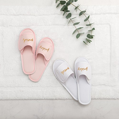 76009fcc7 Women s Cotton Waffle Spa Slippers - Bridesmaid - The Knot Shop