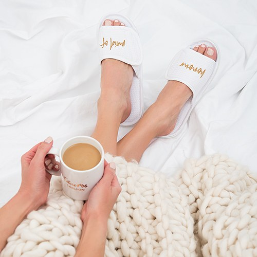 Women's Cotton Waffle Spa Slippers - Maid of Honour