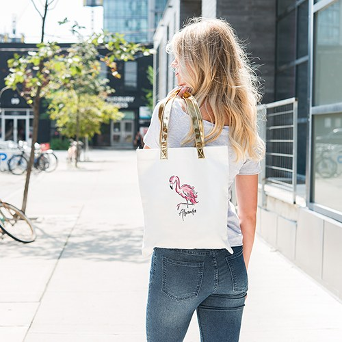 1f14cb7a2 Personalized Cotton Canvas Fabric Tote Bag With Gold Strap - Flamingo
