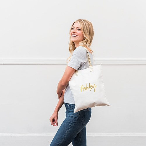 Personalized Cotton Canvas Fabric Tote Bag With Gold Strap - Script Font
