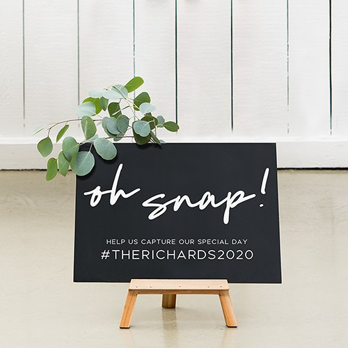 Custom Wedding Chalkboard Sign - Oh Snap