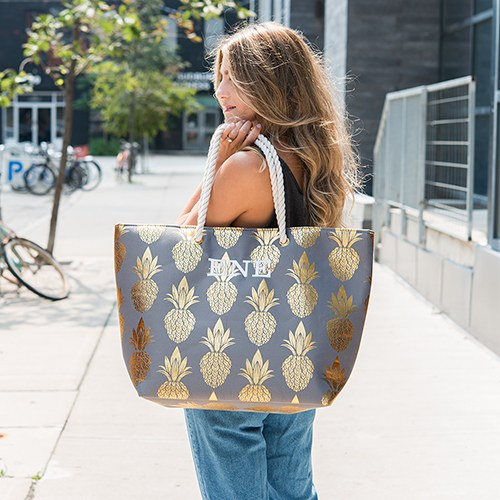Large Personalized Cotton Canvas Fabric Beach Tote Bag - Gold Pineapple