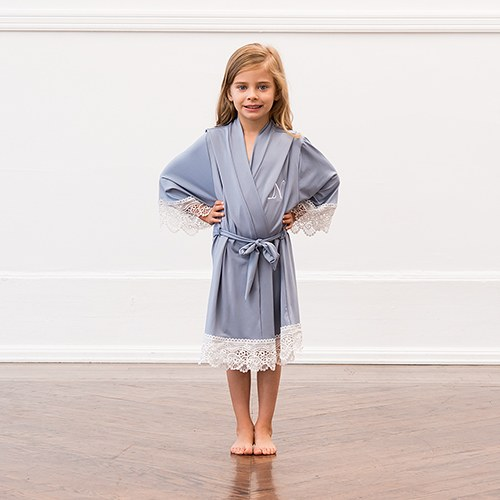 Personalized Flower Girl Jersey Knit Robe With Lace Trim - Powder Blue