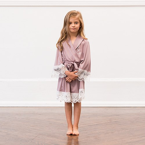 Personalized Flower Girl Jersey Knit Robe With Lace Trim - Mauve