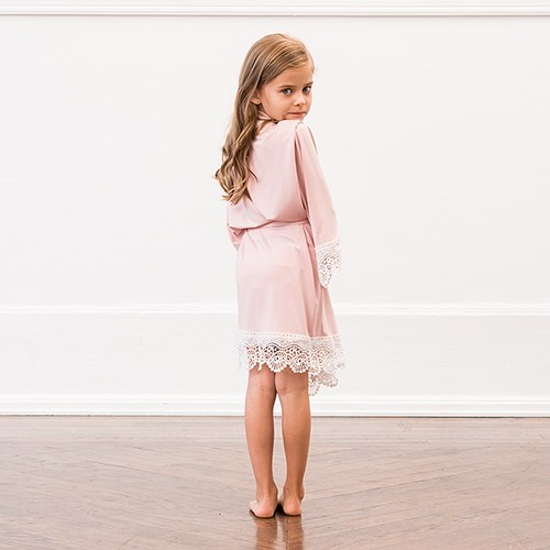Personalized Flower Girl Jersey Knit Robe With Lace Trim - Blush Pink