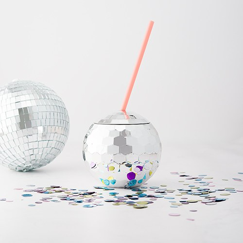 Bridal Party Disco Ball Tumbler Cup for Bridesmaids - Silver with Pink Straw