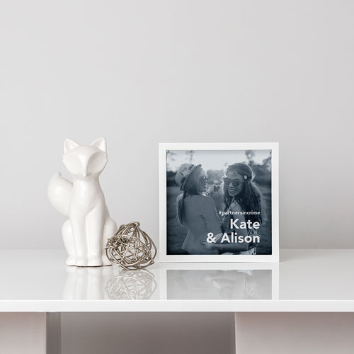 Personalized Square Shadow Box Picture Frame- Block Font Etching
