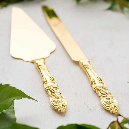 Cake Serving Set   Classic Gold Romance