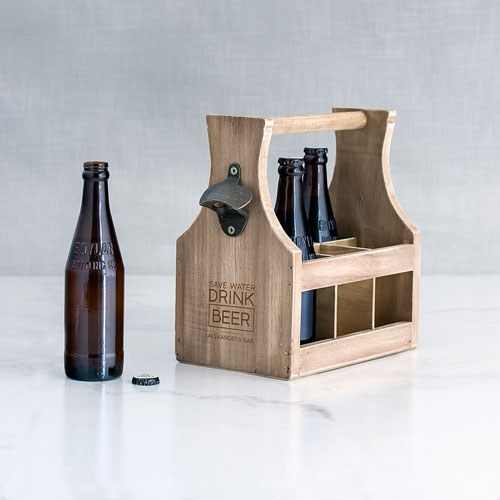 Wood Bottle Caddy with Opener Drink Beer Etching