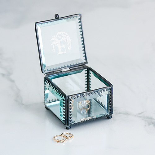 Small Personalized Vintage Glass Jewelry Box – Modern Fairy Tale Engraving