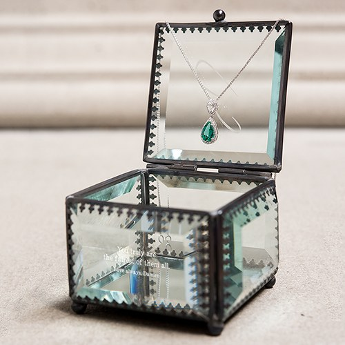 Small Personalized Vintage Glass Jewelry Box – Custom Monogram Engraving