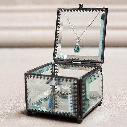 Vintage Inspired Glass Jewelry Box
