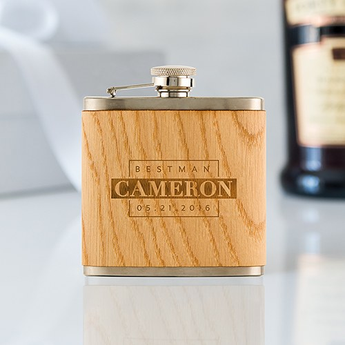 Personalized Oak Wood Wrapped Stainless Steel Hip Flask – Best Man Monogram Print
