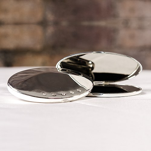 Silver Plated Oval Compact Mirror Wedding Gift with Crystals