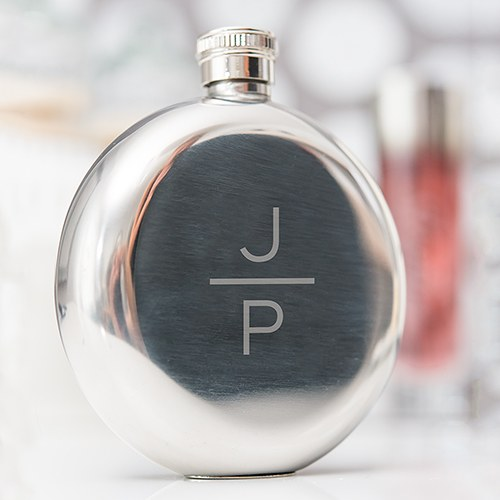 Silver Stainless Steel Round Hip Flask