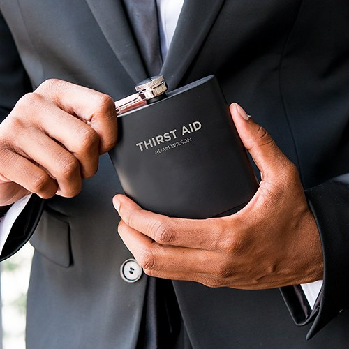 Personalized Engraved Black Hip Flask Wedding Gift- Thirst Aid Engraving