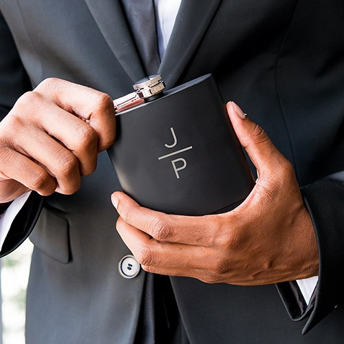 Personalized Engraved Black Hip Flask Wedding Gift- Stacked Monogram Engraving