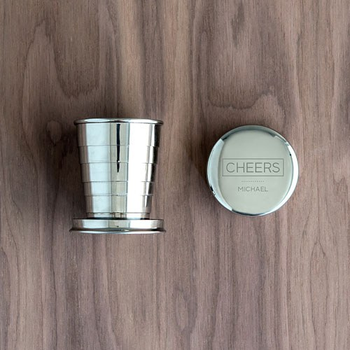 Personalized Silver Stainless Steel Collapsible Shot Glass - Cheers