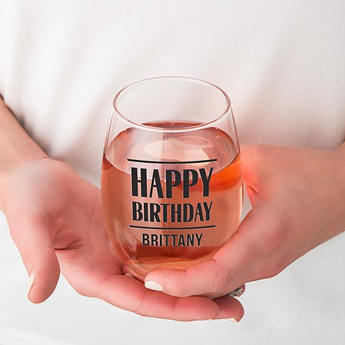 Personalized Stemless Wine Glass - Happy Birthday Print
