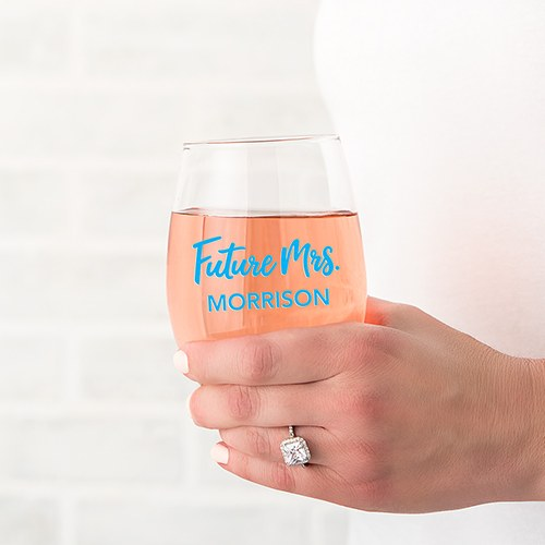 Personalized Stemless Wine Glass - Future Mrs Print