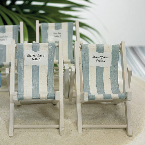 Mini Blue And White Striped Deck Chairs Beach Favor (8) & Miniature Folding Beach Chairs - The Knot Shop