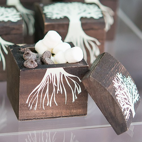 mini wooden tree box wedding favors