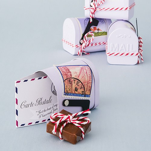 mini vintage mail box wedding favor