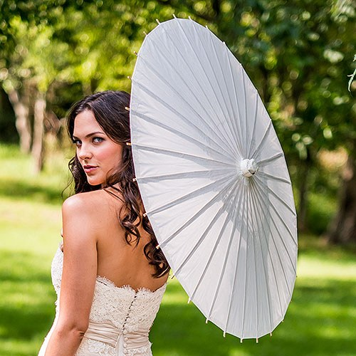 Paper Parasol with Bamboo Boning - White